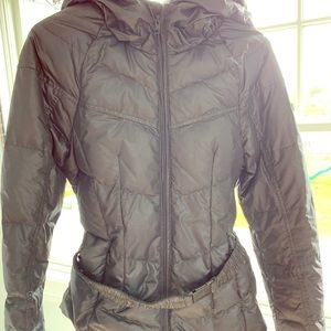 North Face women's belted puffer jacket